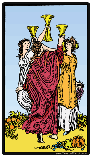 3 Of Swords Rx Reversed As Advice: Three Of Cups Tarot Card Meaning